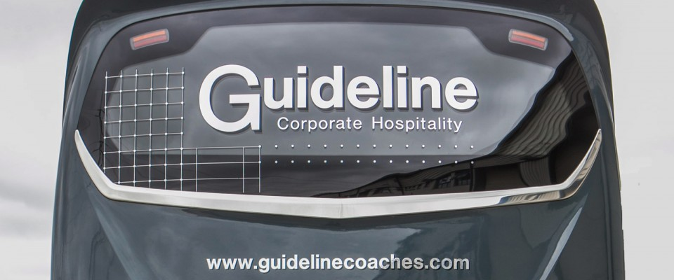 An image showing a Guideline Coaches Ltd Corporate Hospitality Coach for hire.