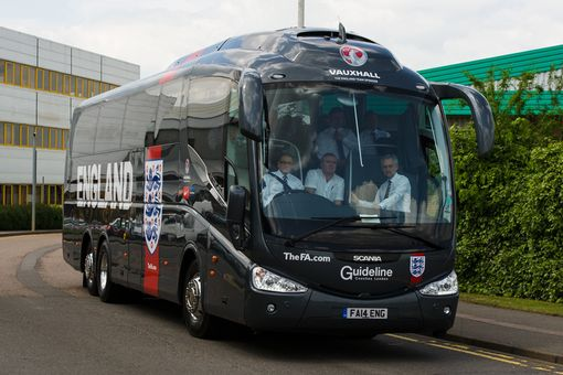An image of a coach available for hire from Guideline Coaches Ltd that has the England football logo on.